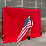 "Photography set up in courtyard of NEHS: ""A"" for America"